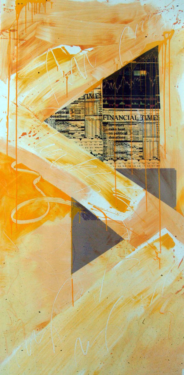 More Bad News - Equities Slip on Downgrade  6.74' x 3.37'  Silkscreen on Porcelain Plaque