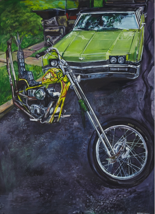 "Car and Chopper  72"" x 48""  Oil on Canvas"