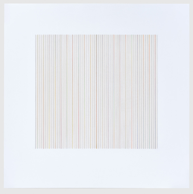 "Untitled, 2014  23.5"" x 23.5""  Color Pencil, Graphite, Burnished Wax on Paper"