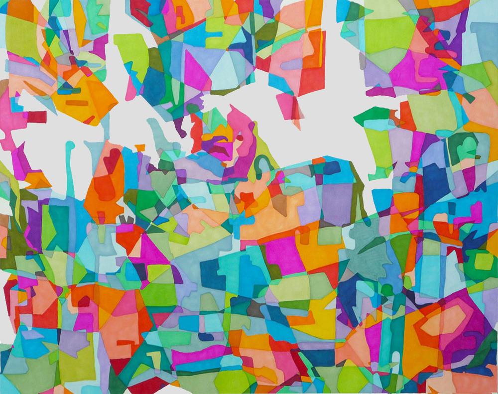"Missing Puzzle Pieces  18"" x 20""  Prismacolor on BFK paper"