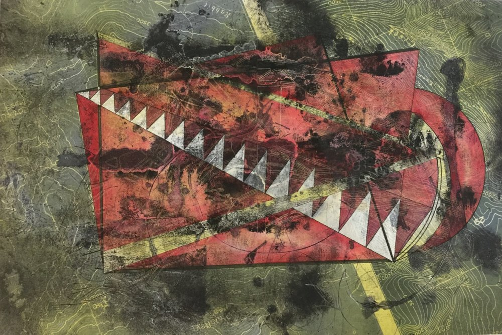 """Colombian Exchange  16"""" x 24""""  Intaglio, laser engraving, gouache and watercolor"""