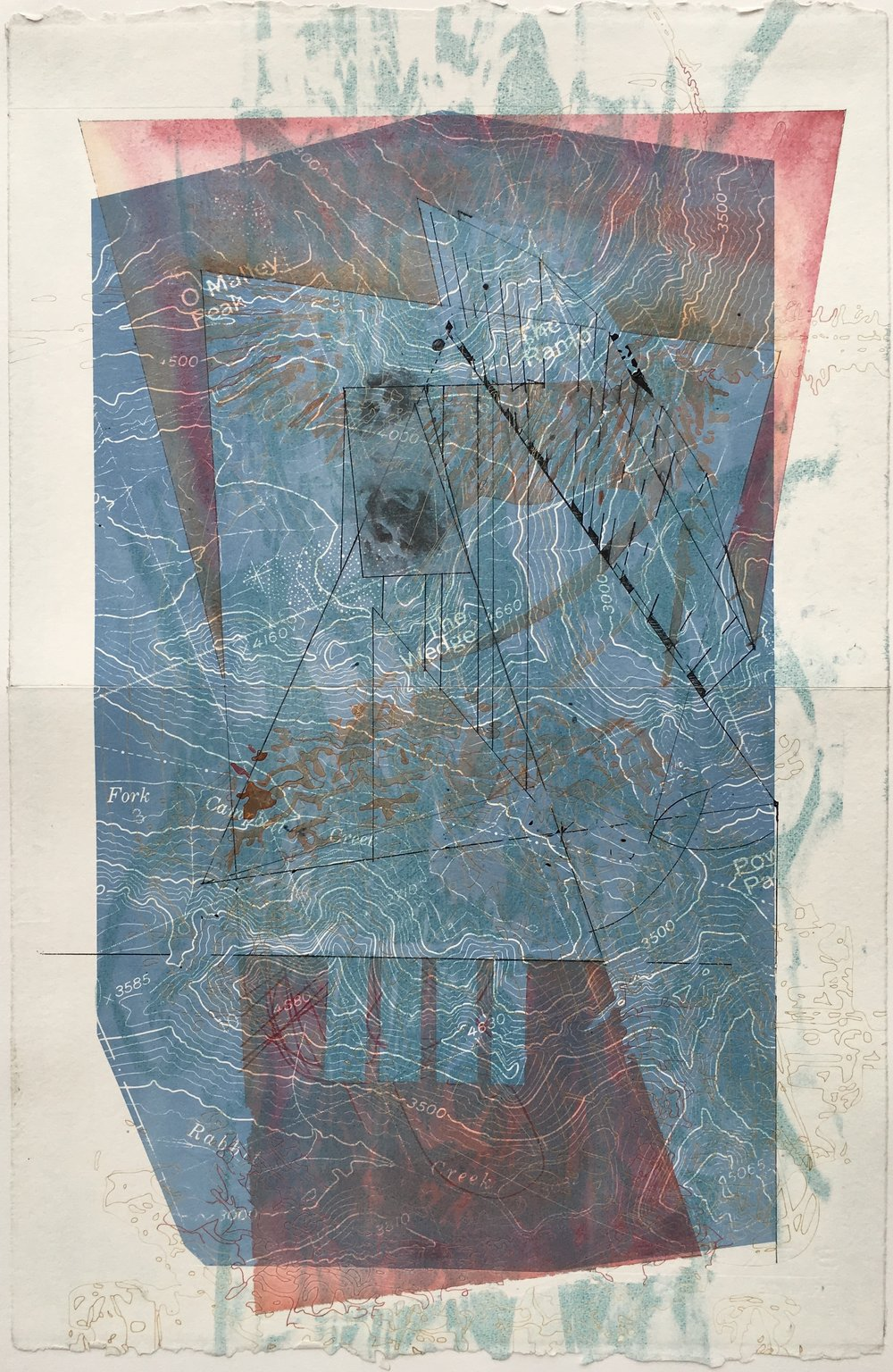 """System of Power  23"""" x 15""""  Intaglio, laser engraving, gouache and watercolor"""