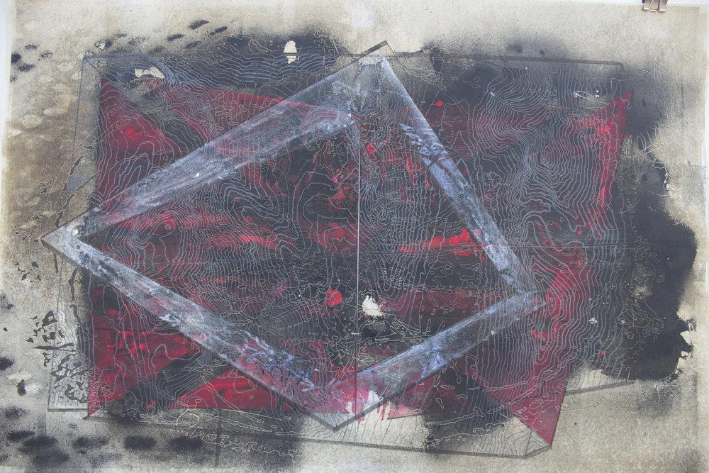 Ponce de Leon_Van Dyke, laser engraving, gouache and watercolor_16x24%22_2016.jpg