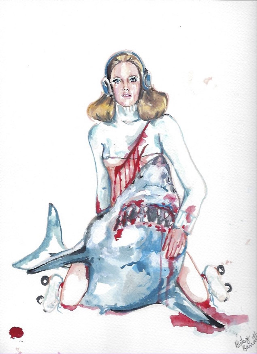 Shark Girl 5  Gouache  10x12""