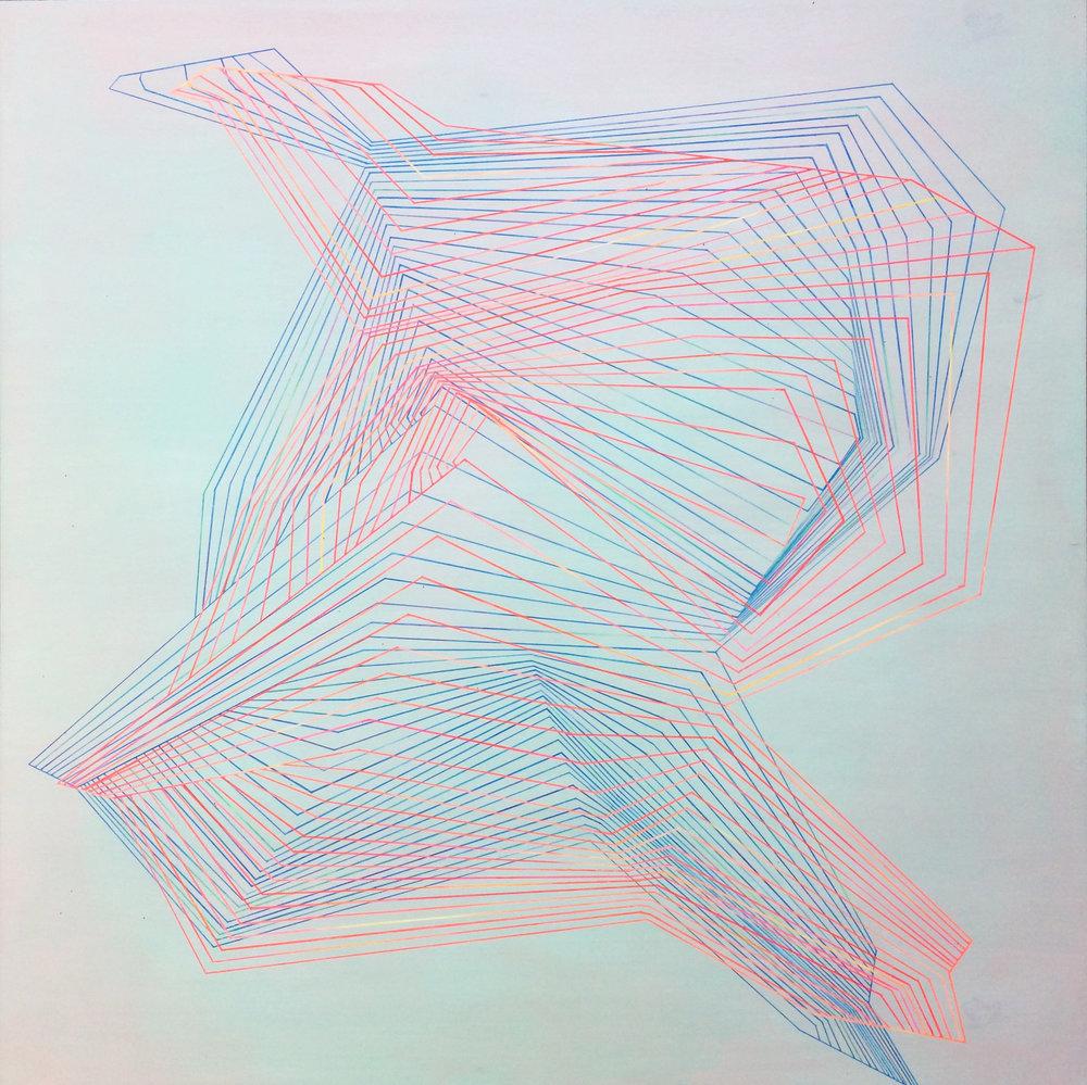 "1984 spanning time  acrylic on wood panel  26"" x 26"""
