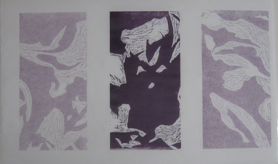 MeshIng Purple. Woodblock Print, 2013