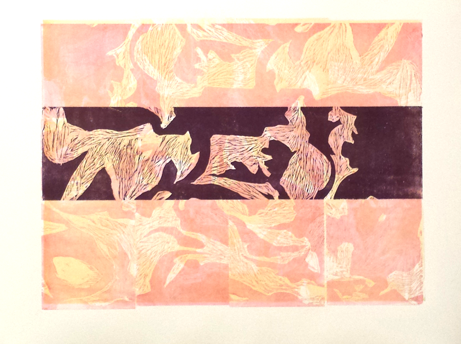 Plum Peachy.  Woodblock Print, 2013