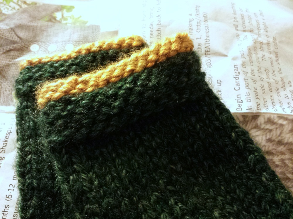 the carefully re-knit cuffs