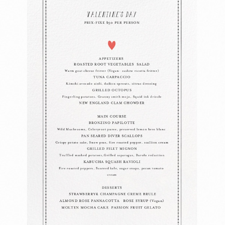 VALENTINE'S DAY 3 COURSE PRIX FIXE DINNER