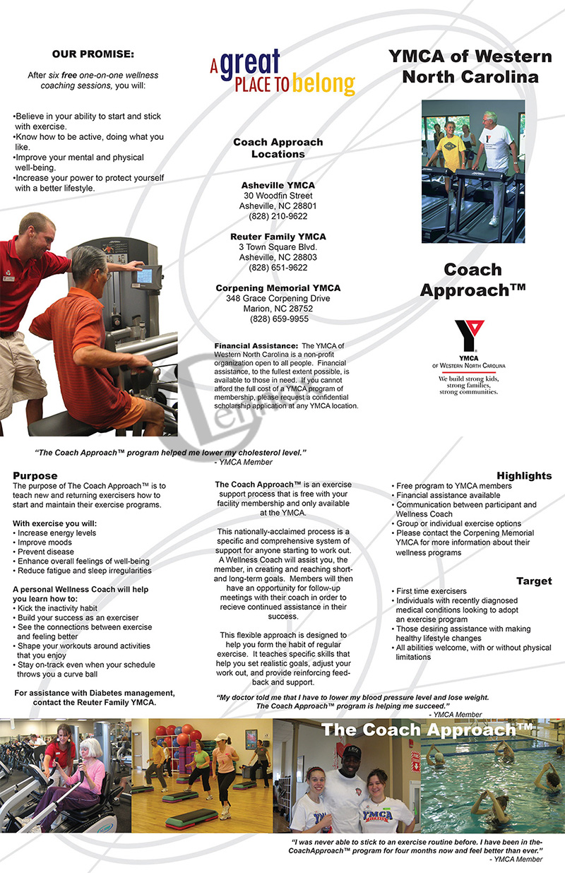 2007 YMCA of WNC Advertisement Brochure--all copy, design and photography (with exception of stock photo on front of brochure) by C. Lennox.