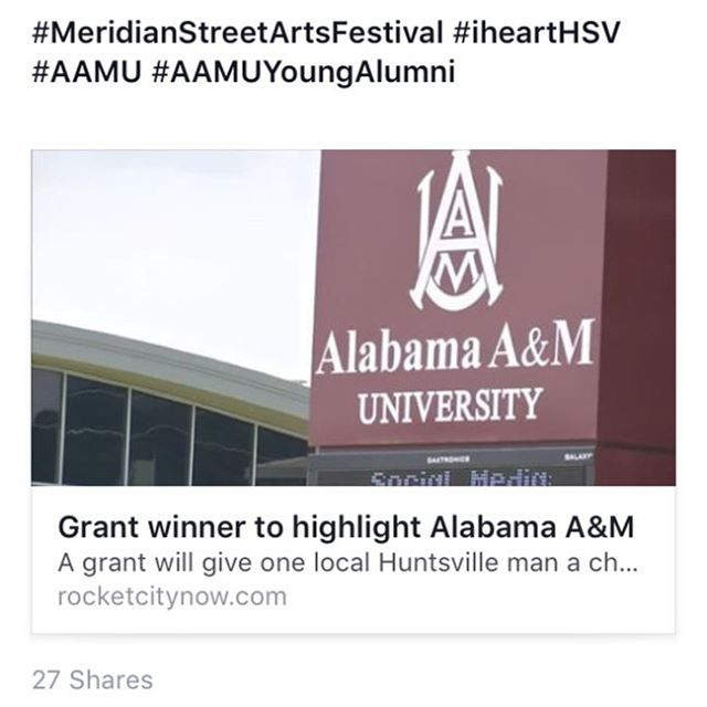 I've been in Huntsville for about 10 years now. One of the main reasons I committed to Alabama A&M University over Marshall & Jacksonville State was the feeling I got on my visit when Marcus Black and Bobby Ross took me out to some house parties and to the Omega Center. Unapologetic blackness. I felt at home.  I was only able to experience the Black Arts Festival twice, and I remember experiencing that feeling again. At homecoming, I feel it. Graduations. I feel it.  I just want to re-create that feeling. And considering all we're going through right now, I think we need it. Looking forward to being able to do just that.  I want to thank @downtownhsv and PNC Bank for this opportunity!  #MeridianStreetArtsFestival #iheartHSV #DowntownHuntsville #AAMU #AAMUYoungAlumni #BlkCreatives #Blavity #Culture #Urban #Millennials #SocialEntreprebeurship