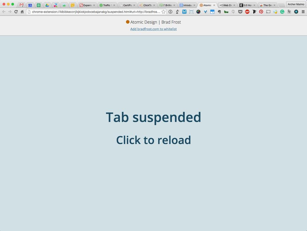 Screen shot of a suspended tab