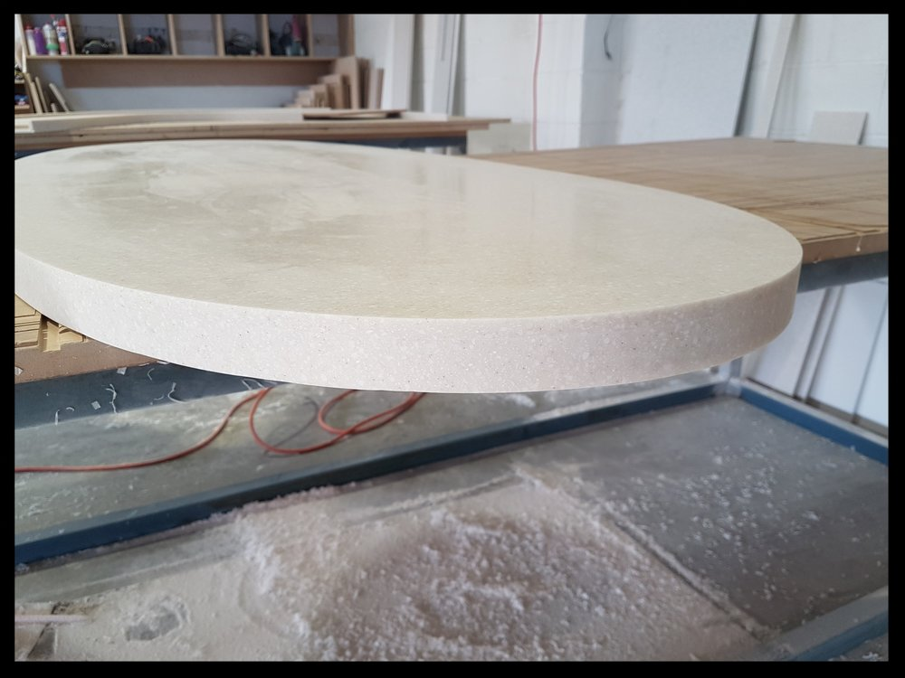 Acrylic solid surface benchtop, curved, McGrath Benchtops