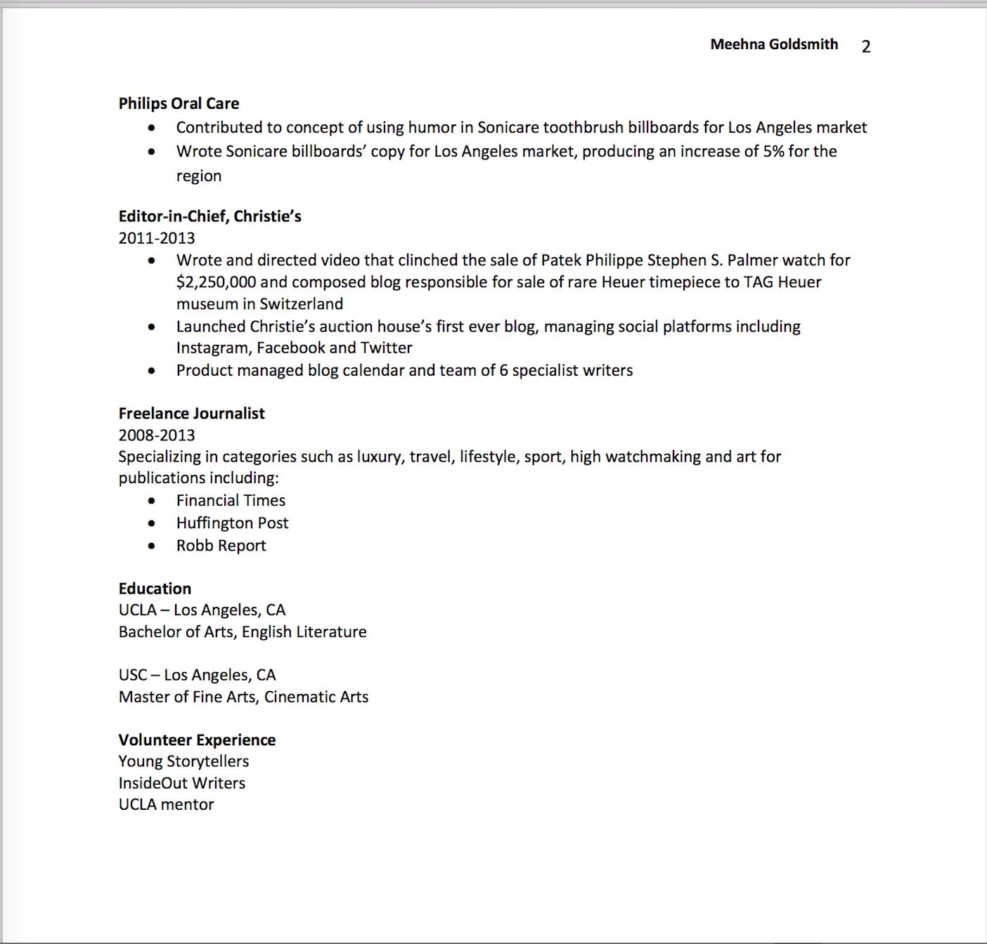 Resume — Meehna Goldsmith