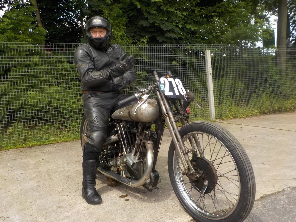 Ewan Cameron on a 1926 Brough Superior SS100 (No. 278).
