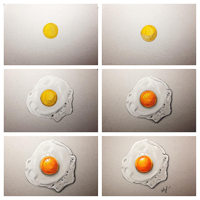 ''Breakfast egg'' - pencils, watercolours 2013