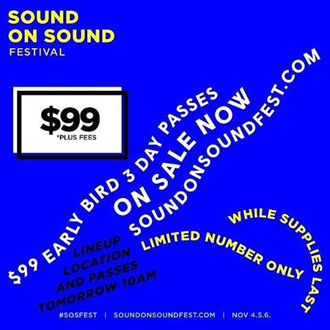 DANG YALL: A limited number of @sosfesttx Early Bird passes are on sale now! Available online only for $99 + fees. soundonsoundfest.com  Lineup, Location and full price passes available tomorrow at 10AM. soundonsoundfest.com