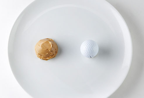 2 tbsp of nut butter is roughly the size of a golf ball. Always eye ball your measurements to be sure you aren't over consuming one food/nutrient.