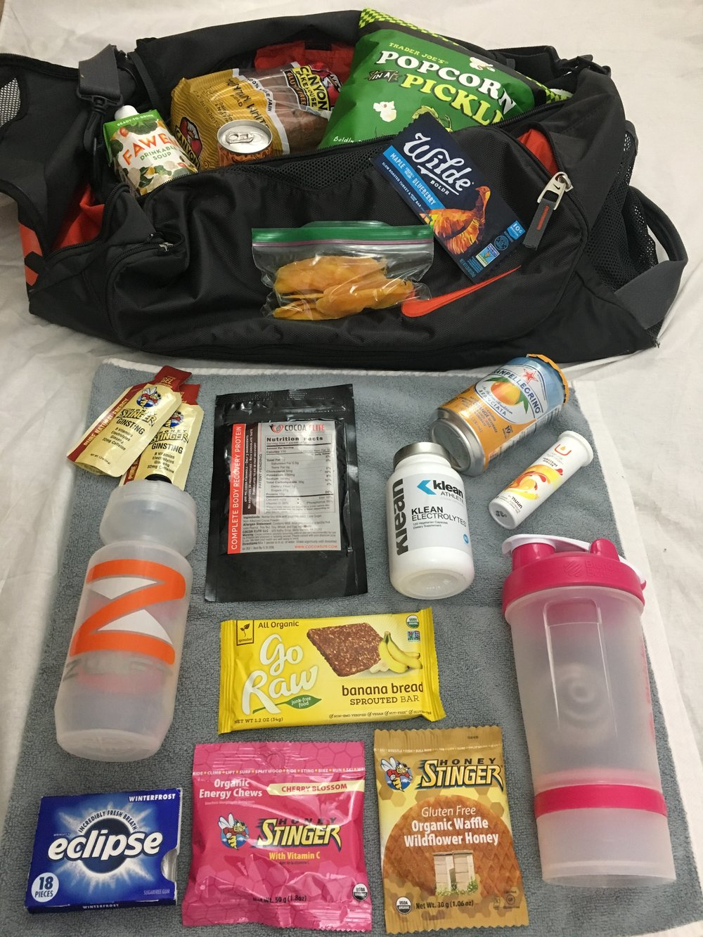 a look at my food options. I take gum along to help calm me before a race start!