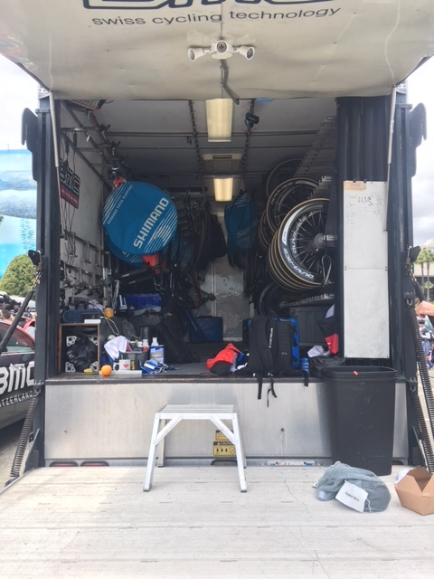 A glance into the team's equipment trailer.