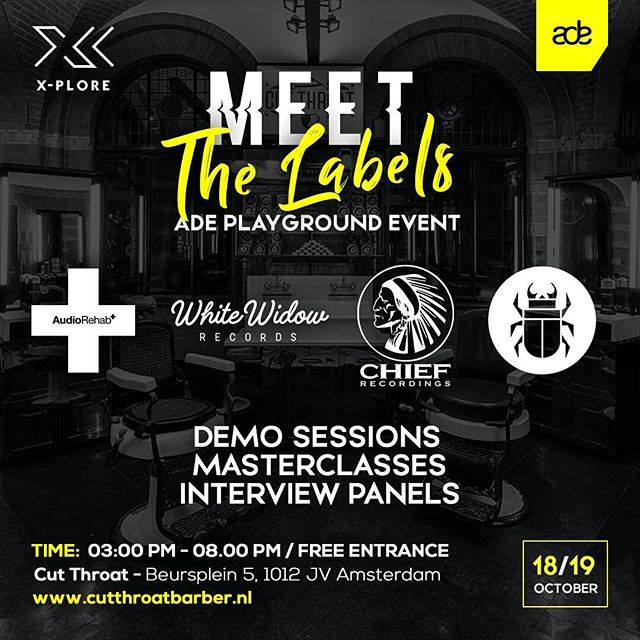 Are you people attending Amsterdam Dance Event this year? Make sure you stop by our event. Together with labels Audio Rehab, White Widow Records and Throne Room Recordings we are hosting a ADE playground event with demo sessions, masterclasses and interview panels. Wednesday and Thursday 18-19 October at Cut Throat Amsterdam  More info here: https://www.facebook.com/events/295258914286304/?ti=cl  #amsterdamdanceevent #chiefrecordings #whitewidowrecords #audiorehab #throneroom #meetthelabels #techhouse #housemusic #ade2017