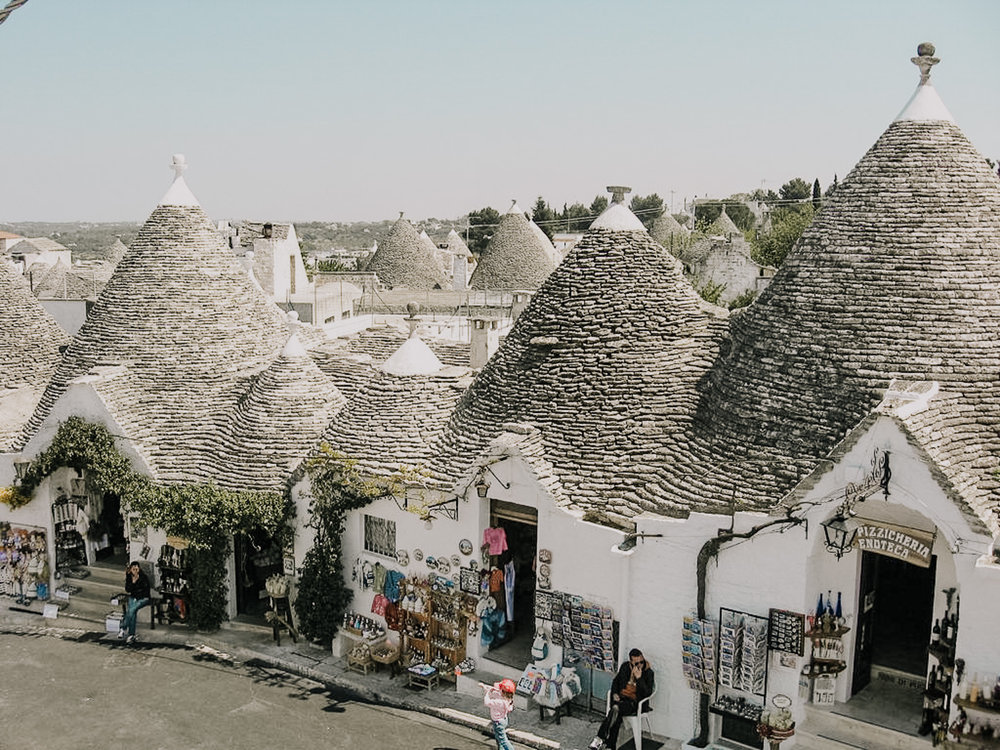"""This special part of Italy has beautiful, unique architecture like the """"Trullo"""": a traditional Apulian dry stone hut with a conical roof. Their style of construction is specific to the Itria Valley, in the Murge area of the Italy region of Apulia."""