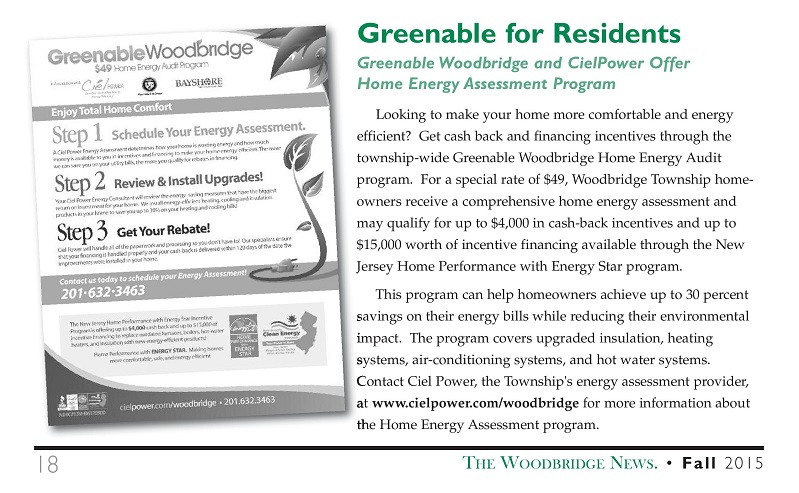 The Fall 2015 issue of The Woodbridge News features the Greenable Woodbridge Home Energy Assessment program.