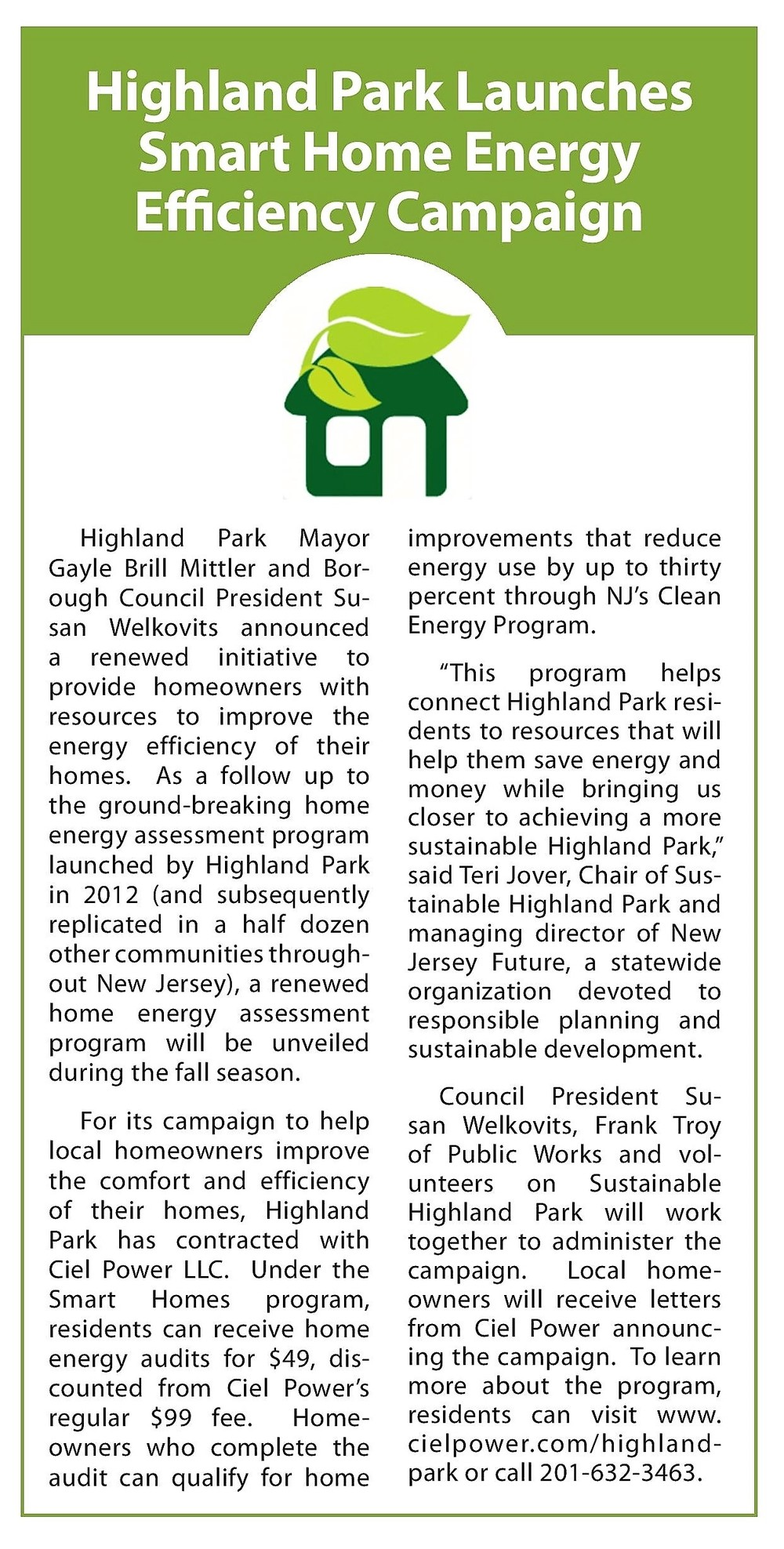Highland Park's Smart Home Energy Efficiency home energy audit campaign kick off is featured in the Highland Park News