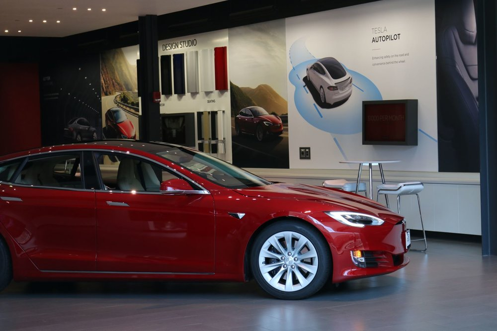 Tesla Model S on display at Garden State Plaza Mall in Paramus, New Jersey.