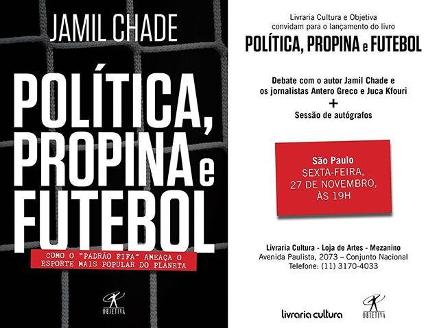 Grande livro que será lançado amanhã em São Paulo, escrito pelo jornalista Jamil Chade, sobre os escândalos recentes da FIFA.