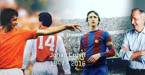"""Dia de reverenciar uma lenda do Futebol mundial. O futebol ofensivo e técnico, que muito já praticamos e ainda amamos, teve em Cruyff um defensor ferrenho. """"O futebol deve ser jogado de maneira atraente, ofensiva. O futebol precisa ser espetáculo"""". #ripcruyff"""