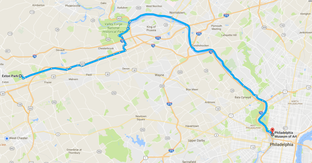 Philadelphia ride route - click to zoom in/out