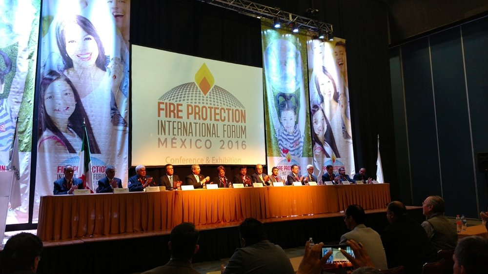 Dais at opening of International Fire protection forum in mexico city