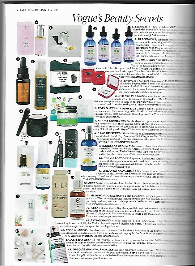 NÜLA's Dry Shampoo - Featured as Vogues Beauty Secrets. #14. What an honour to be found, and asked to put in this magazine!