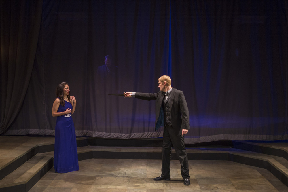 Amy Herzberg, John T. Smith, and Grant Goodman in Hamlet (2014). Photo by Beth Hall.