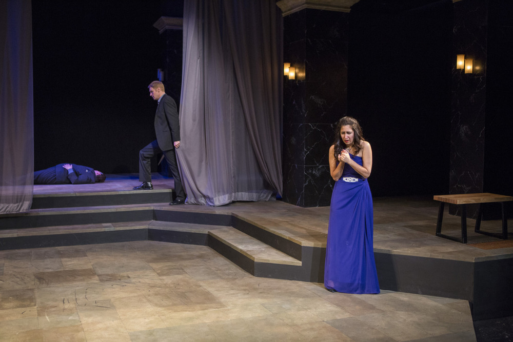 John T. Smith, Grant Goodman, and Amy Herzberg in Hamlet (2014). Photo by Beth Hall.