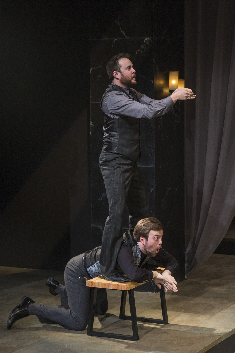 Bryce Kemph and James Taylor Odom in Hamlet (2014). Photo by Beth Hall.