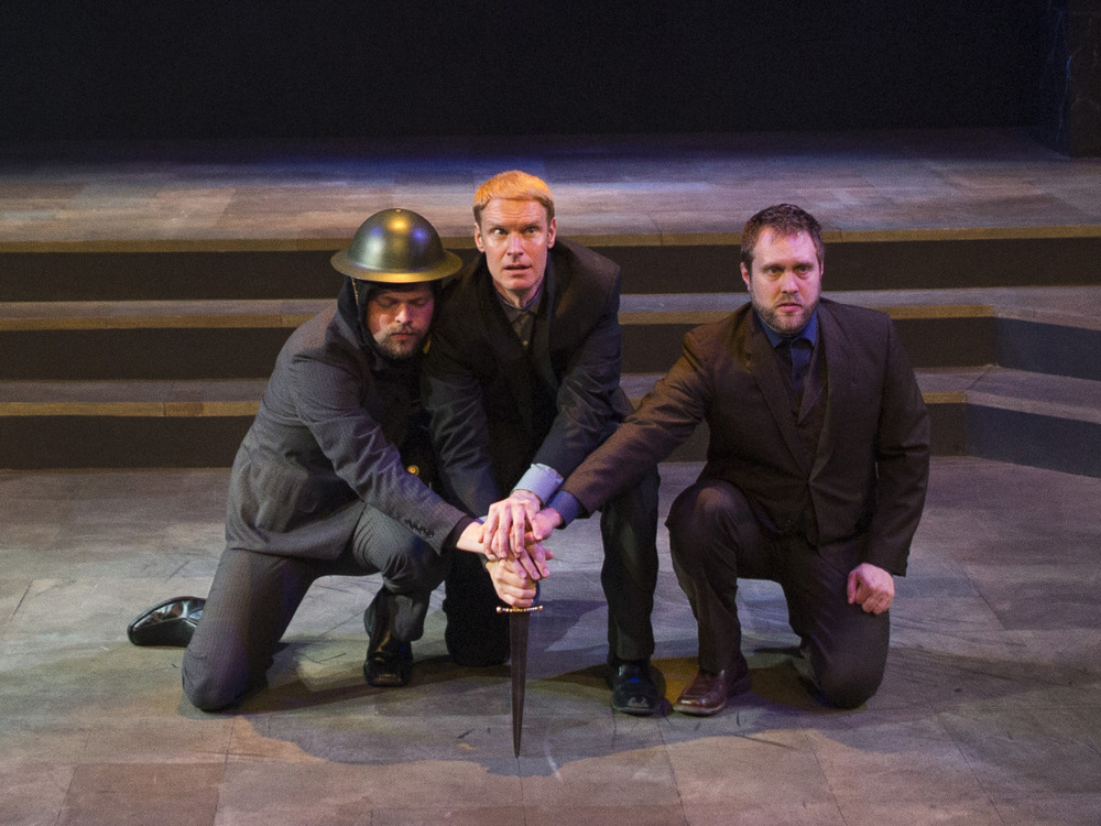 James Taylor Odom, Grant Goodman, and Bryce Kemph in Hamlet (2014). Photo by Beth Hall.