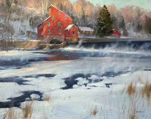 "Winter Morning at the Clinton Mill 16"" x 20""  Highlands Art Gallery"