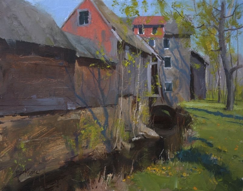"""A Touch of Spring, Stover Mill"" 11"" x 14"" oil  Highlands Art Gallery"