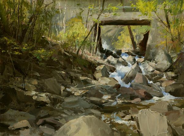 """Hickory Creek Run, Point Pleasant"" 12"" x 16"" oil  Highlands Art Gallery"
