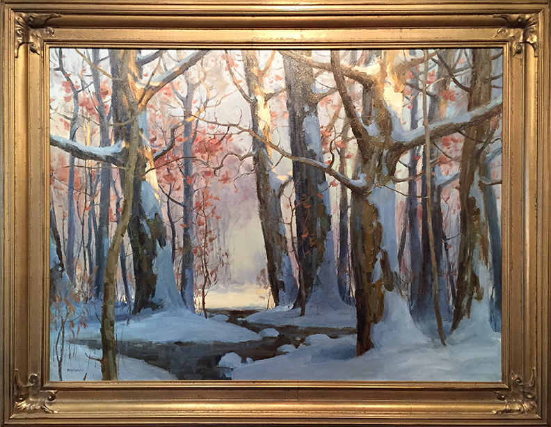 """""""Snowy Woodland, Homage to Carlson"""" 36"""" x 48"""" oil  Highlands Art Gallery"""