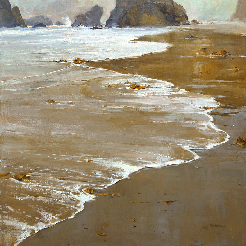 """The Tranquil Surf"" 30:"" x 30"" oil  Oil Painters of America  25th Annual National Exhibition  SOLD"