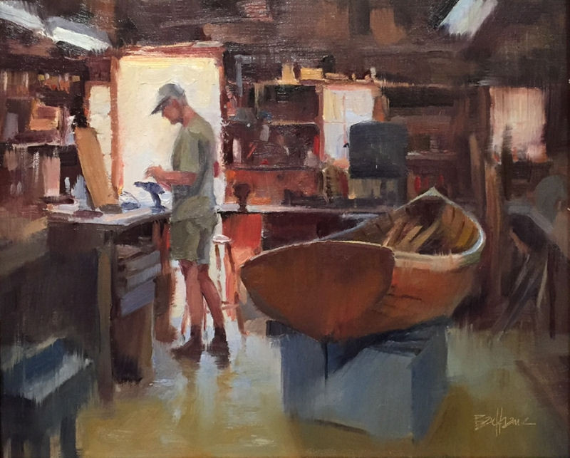 """The Boat Repair Shop"" 11"" x 14"" oil  Troika Gallery"