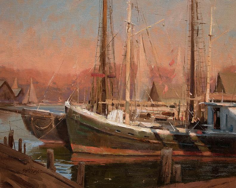 """Harbor Morning"" 16"" x 20"" oil  Highlands Art Gallery"