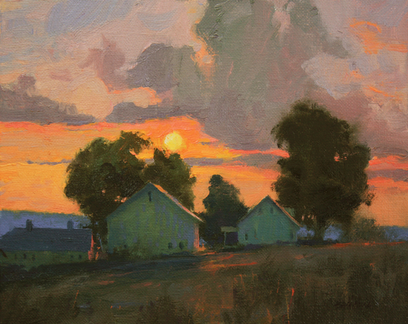 """Orange Sunset"" 8"" x 10"" oil"