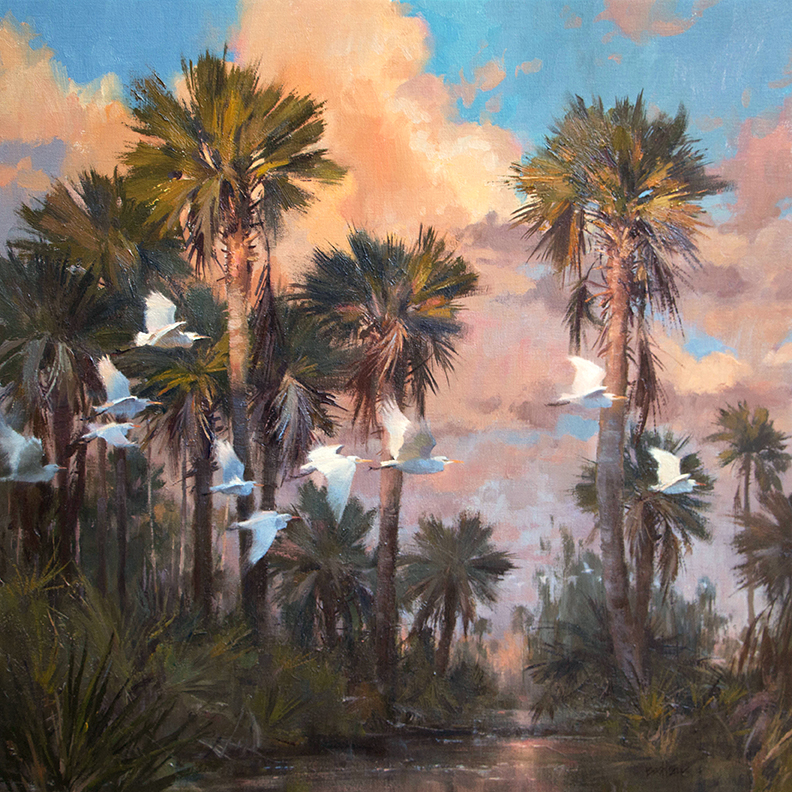 """Evening Retreat"" 30"" x 30"" oil  Helena Fox Fine Art   SOLD"