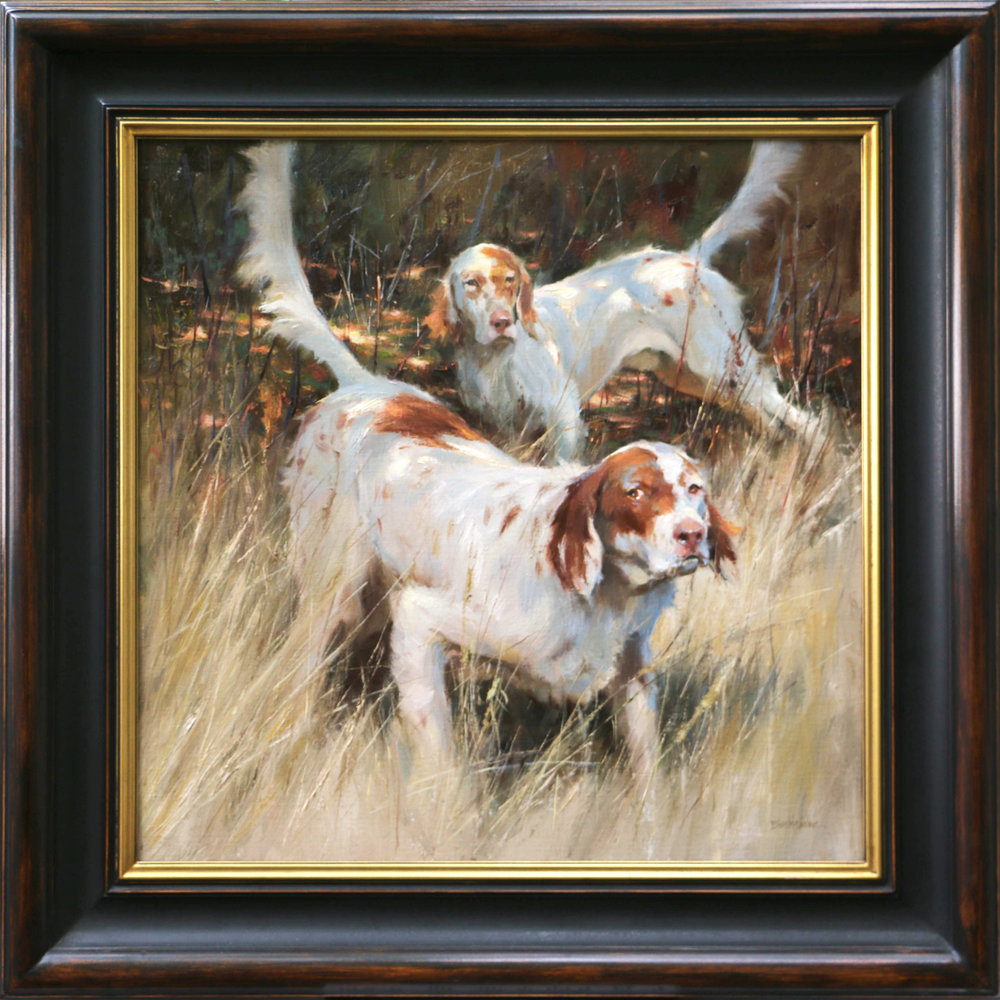 "Honoring the Point, English Setters 26"" x 26"" oil"