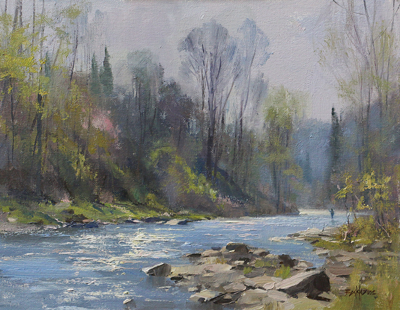 """Fishing the Tohickon"" 11"" x 14"" oil"