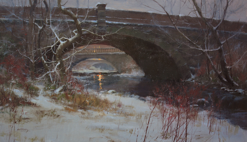 """Twilight Along Swan Creek"" 21"" x 36"" oil"